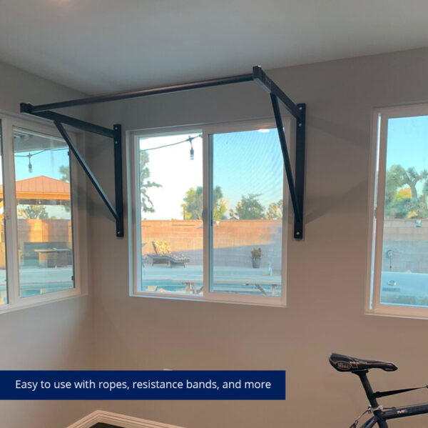 WALL-MOUNTED PULL-UP BAR in living room