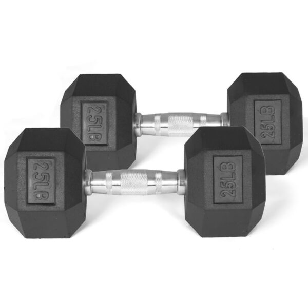25 LB RUBBER HEX DUMBBELLS other view